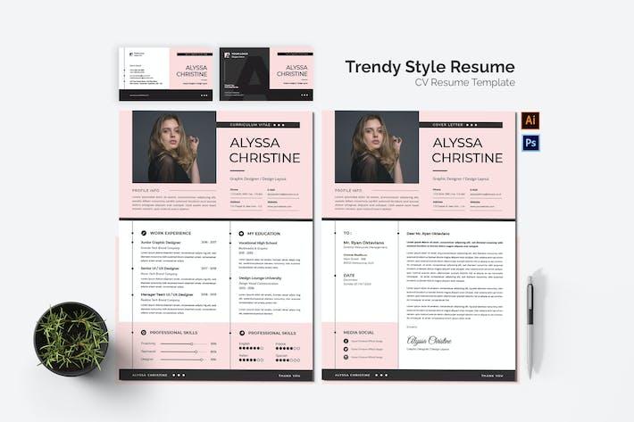Thumbnail for Trendy Style CV Resume Set