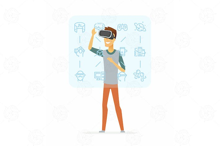 Thumbnail for Man wearing vr glasses - vector illustration