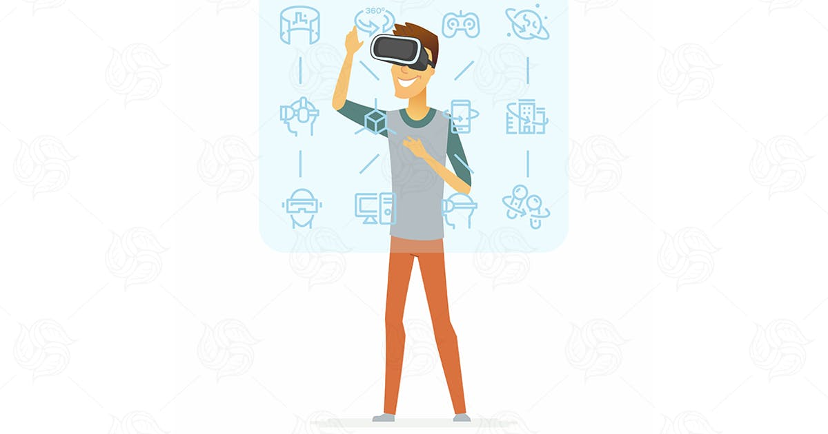 Download Man wearing vr glasses - vector illustration by BoykoPictures