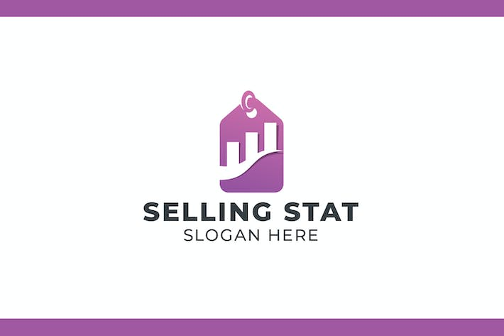 Price Tag and Chart Negative Space Logo