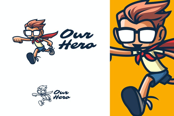 Thumbnail for Kid Hero Mascot Logo