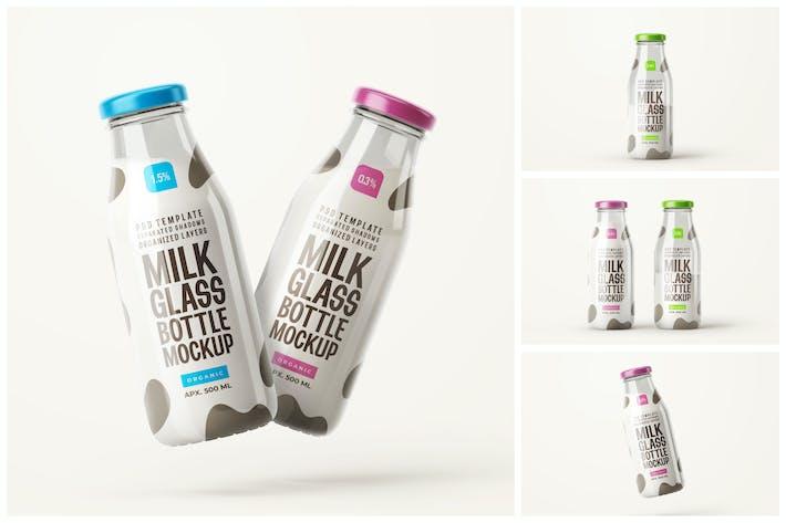 Thumbnail for 250 ml glänzendes Milchflaschen-Mockup-Set