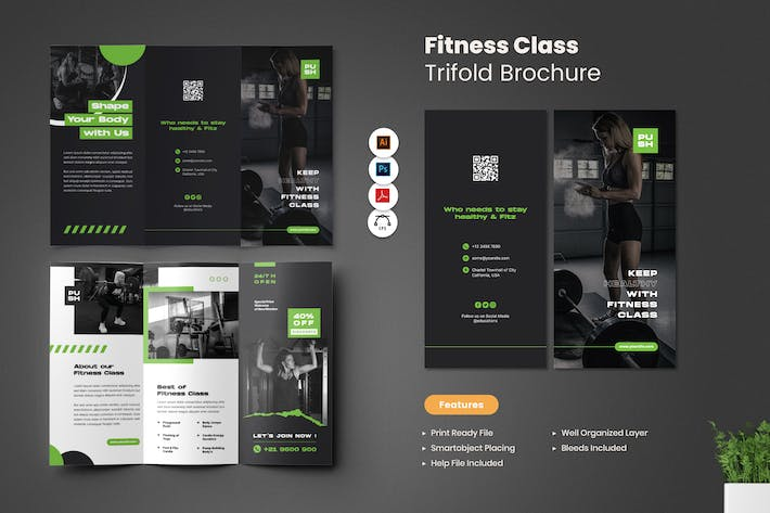 Fitness Class Trifold Brochure