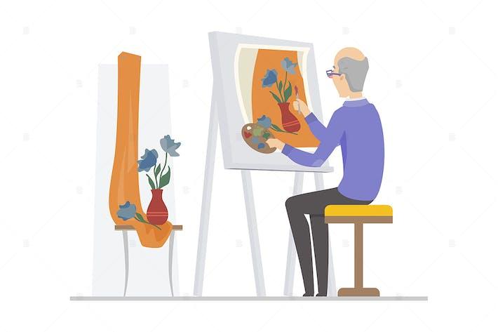 Thumbnail for Senior Man Malerei - flache Design-Illustration