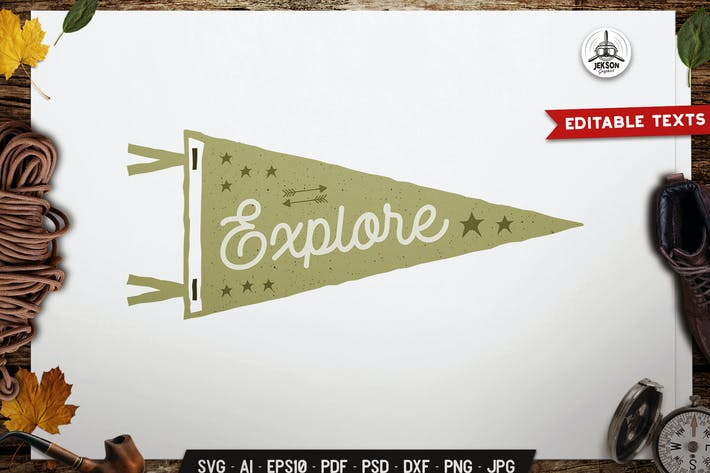 Thumbnail for Explore Pennant Emblem Travel Badge Camp Design