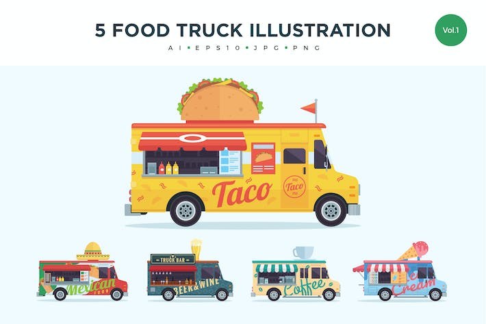 Thumbnail for 5 Food Truck Vector Illustration Set 1
