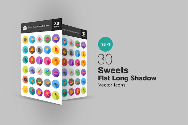Thumbnail for 30 Sweets & Confectionery Flat Long Shadow Icons