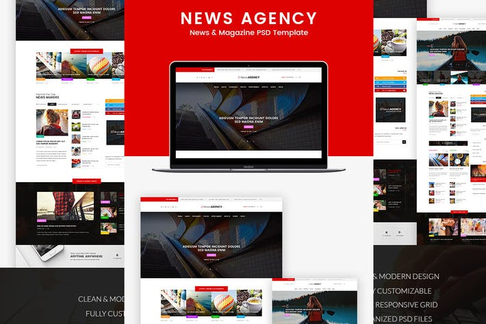 Thumbnail for News Agency - News Magazine Newspaper  PSD templat
