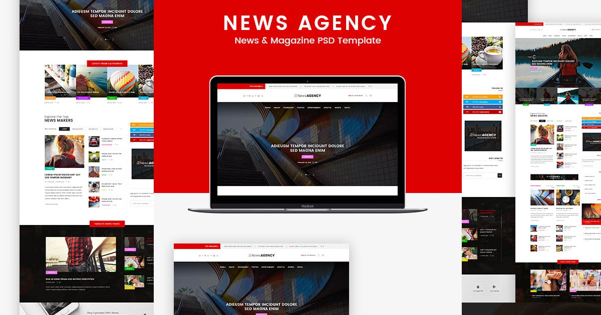 Download News Agency - News Magazine Newspaper  PSD templat by Templines