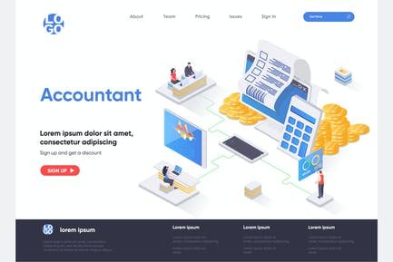 Accountant Isometric Landing Page Template