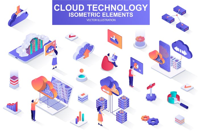 Thumbnail for Cloud Technology Isometric Design Elements