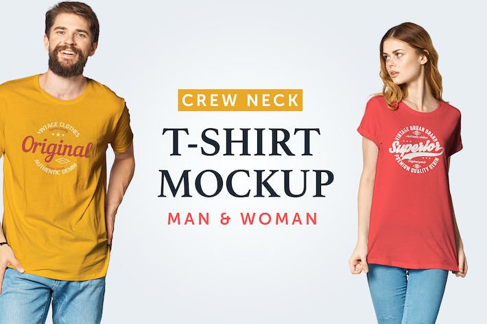 Thumbnail for Crew Neck T-Shirt Mockup 07