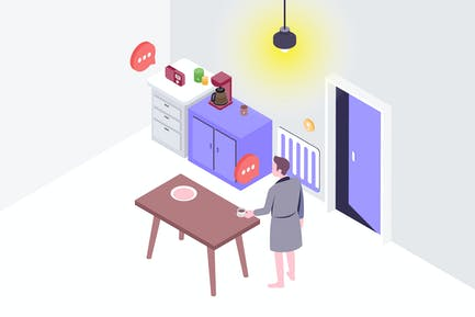 Smartthings Voice Control Isometric Illustration