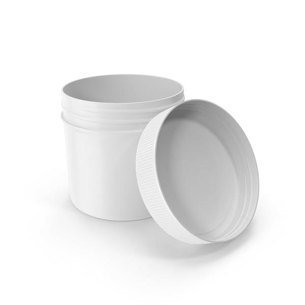 Kunststoff-Glas Weithalsband gerade Seite 2oz Open White