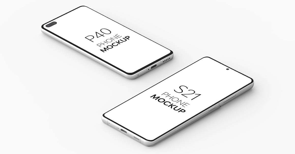 Download P40 Phone & S21 Phone Mockup by UnicDesign