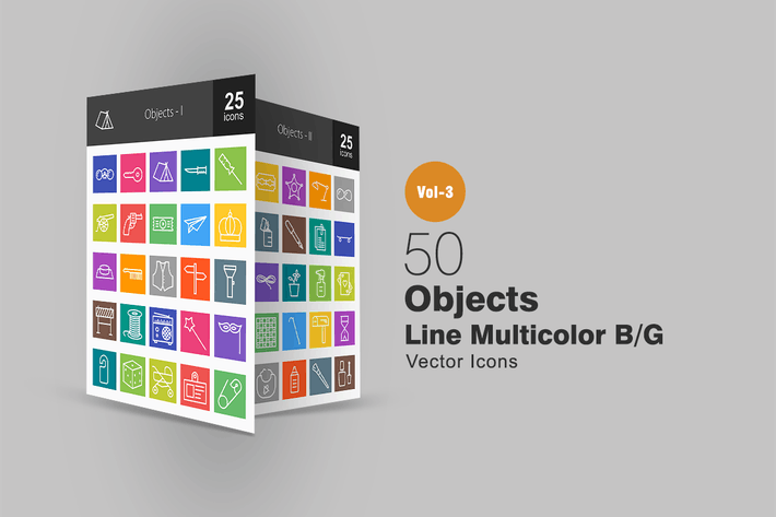 Cover Image For 50 Objects Line Multicolor Icons