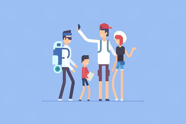 Туристы - плоский дизайн стиль иллюстрации