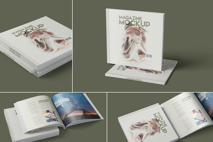 Square Magazine Mockup Set
