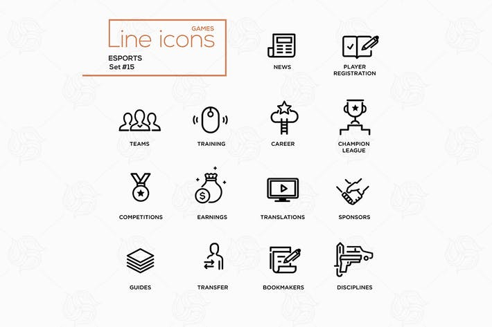 Thumbnail for Esports - Line Icons, Pictograms Set