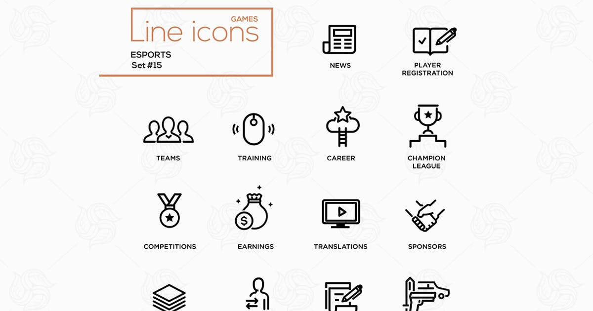 Download Esports - Line Icons, Pictograms Set by BoykoPictures