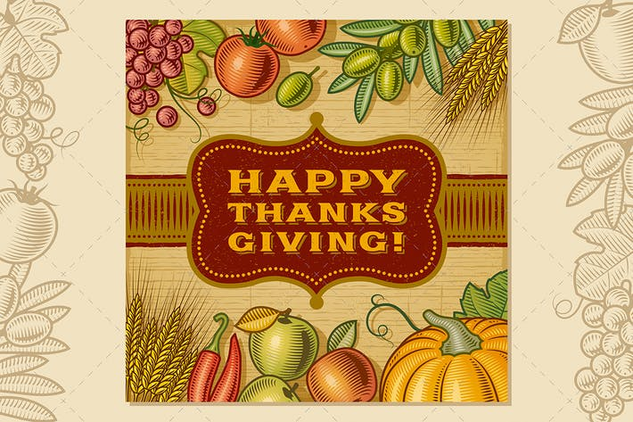 Thumbnail for Vintage Happy Thanksgiving Card