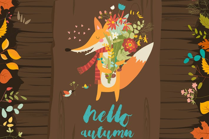 Cover Image For Lovely autumn card with a fox and flowers