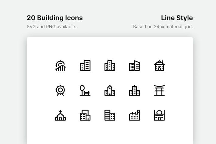 Thumbnail for Building Line Icons