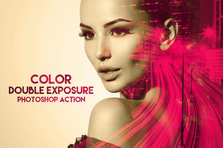 Цветная двойная экспозиция Photoshop действие