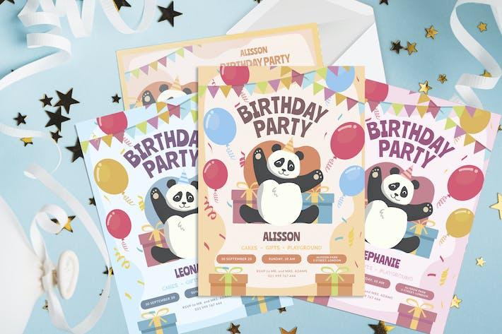 Thumbnail for Birthday Panda - Kids Birthday Invitation