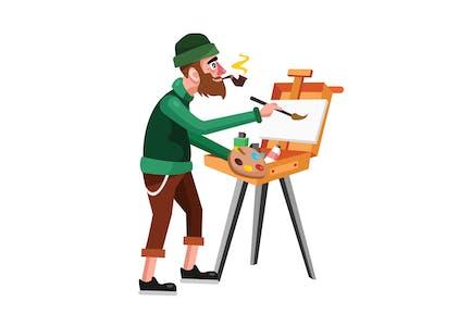 Artist Painter Vector Illustration