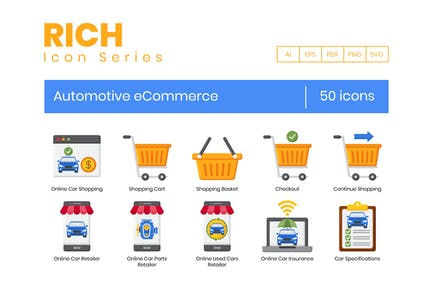 50 E-Commerce-Icons für den Automobilbereich - Rich Series