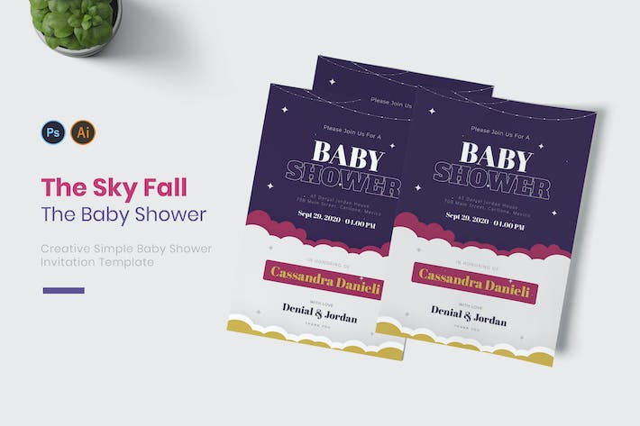 Thumbnail for Sky Fall Baby Shower Invitation