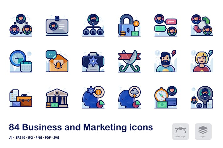 Thumbnail for Business and marketing detailed filled line icons