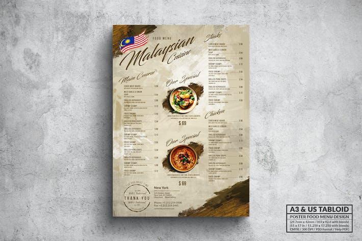 Malaysisches Poster Food Menu - A3 & US Boulevardzeitung