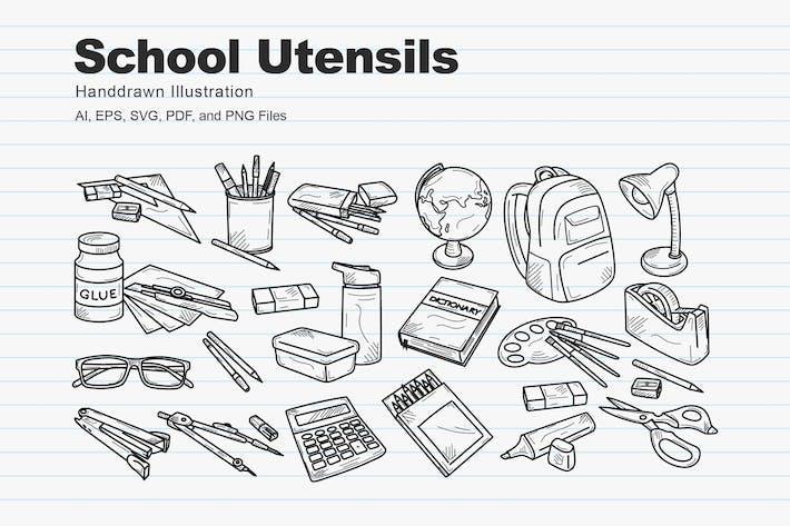School Utensils Handdrawn Sketch