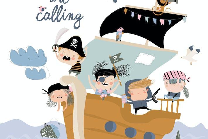 Thumbnail for Niedliche Piraten segeln in ihrem Schiff. Vektor