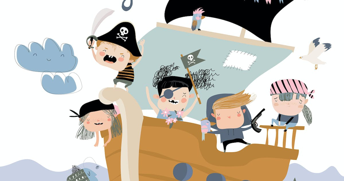 Download Cute pirates sailing in their ship. Vector by masastarus