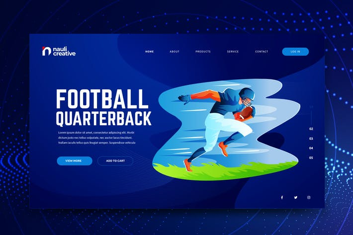 Thumbnail for American Football Web PSD and AI Vector Template
