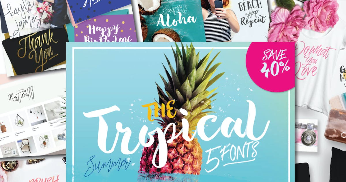 Download The Tropical Font Set by dirtylinestudio
