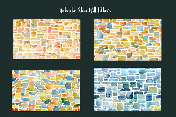 Thumbnail for Watercolor Stone Wall Patterns