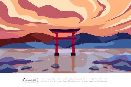 Torii - Famous Landmark Illustration