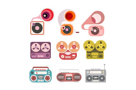 Gramophone and Tape Player Vector Icon Set