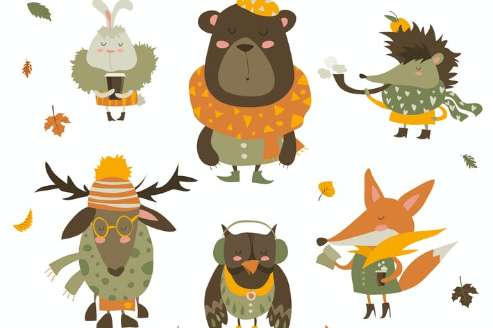 Thumbnail for Cartoon characters and autumn elements. Vector