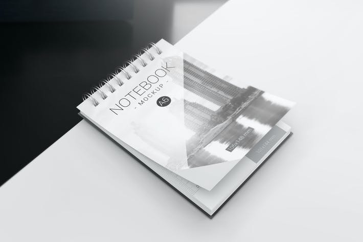 Thumbnail for A6 Spiral Notebook Mockups