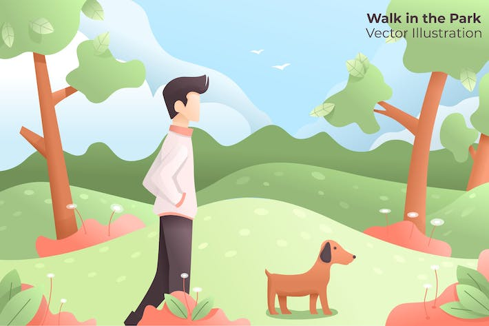 Thumbnail for Walk in the Park - Vector Illustration