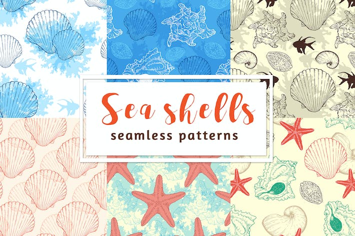 Thumbnail for Sea Shells Seamless Patterns