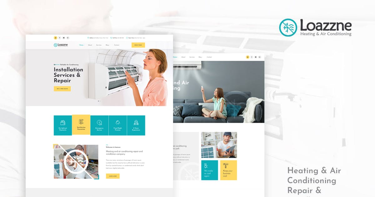 Download Loazzne - Heating & Air Conditioning Services HTML by Layerdrops