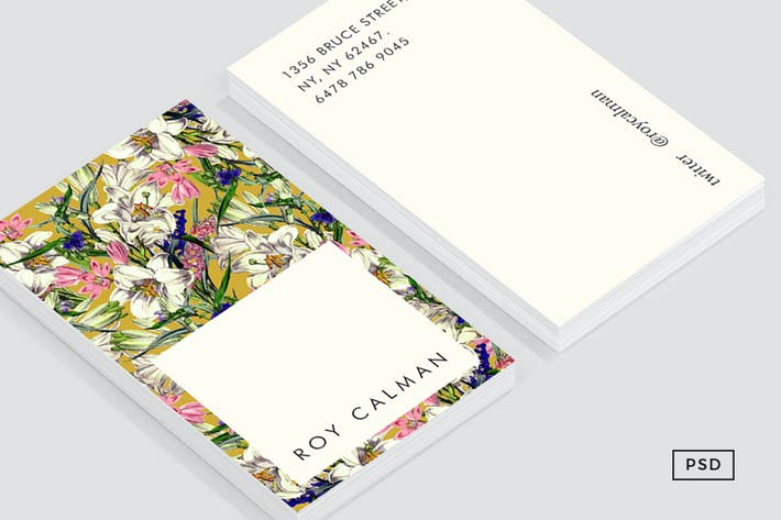 Thumbnail for Earthy Floral Business Card Template