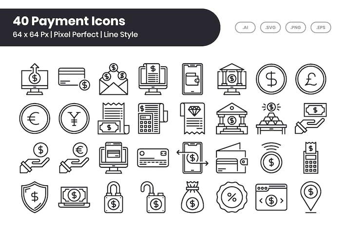 Lot de 40 Icones de paiement - Ligne