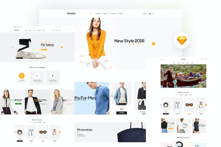 Cover Image For Simple - Ecommerce Sketch Template